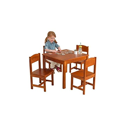 KidKraft Farmhouse Kids 5 Piece Table and Chair Set, Kids Activity Table Set, Pecan - Farmhouse Kids Table