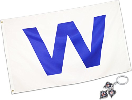 Eugenys Chicago W Win Flag (3x5 Feet) - 100% Super Polyester Material - FREE Bonus Included - Large Cubs Win Banner With Durable Brass Grommets - Perfect For Hanging Indoor/Outdoor -