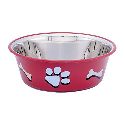 Comedouro Kumar para Cães Paw Bone Vermelho - 1800ml