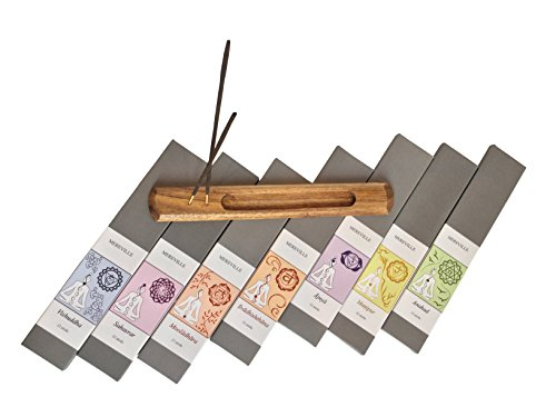 Seven Chakra Natural Incense Sticks (8 inches) with wood burner Great Gift idea for Meditation and Yoga lovers, Great for Relaxation, Healing, & Rituals - 100% Natural & Hand Dipped (ON SALE)