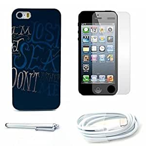 LIMME Lost Sea Pattern Hard Case and Screen Protector and Stylus and Cable for iPhone 5/5S