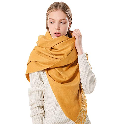 Fashion Scarfs for Women Hot Sale,DEATU Ladies Bohemia Tassels Shawl Voile Rectangle Comfy Solid Color Scarves(Yellow) (Cashmere Hermes Scarf)
