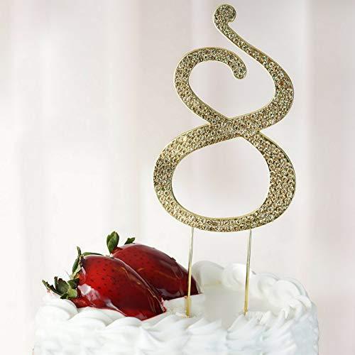 Mikash 4.5 Tall Gold Crystal Rhinestone Cake Topper Wedding Birthday Party Decorations   Model WDDNGDCRTN - 17364  