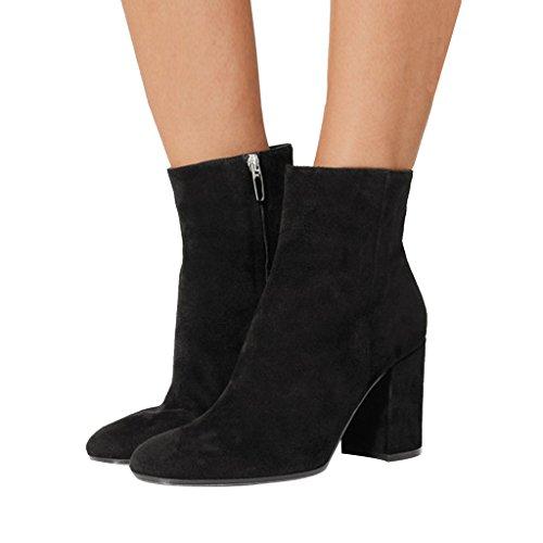 FSJ Women Almond Toe Zipper Chunky Block Heel Handmade Ankle Booties Elegant Dress Boots Size 4-15 US Black dpICRywtqd