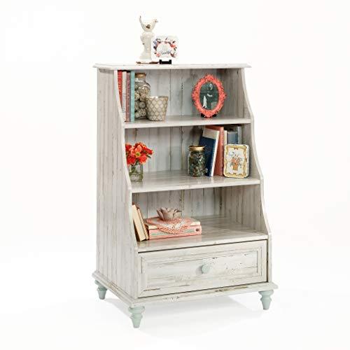 """Sauder 419770 Eden Rue Bookcase with Drawer L: 26.61"""" x W: 19.45"""" x H: 40.95"""" White Plank Finish"""