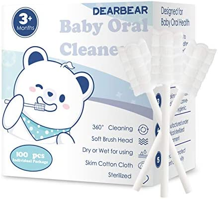 [100-Pack] Dear Bear Baby Tongue Cleaner Upgrade Gum Cleaner with Paper Handle for Babies and Infants Ages 0-6&6-12 Month Baby Toothbrush
