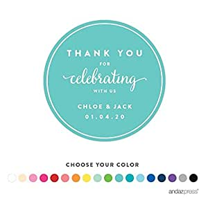 Andaz Press Personalized Circle Labels Stickers, Wedding, Thank You for  Celebrating With Us,