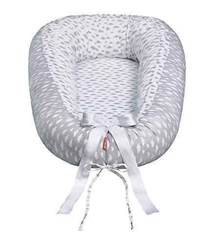 Scamp Premium - Nido para bebes (antialergico, 100% algodon, certificado Öko-Tex 100 Standard, con colchon de coco) gris Little Clouds White Grey
