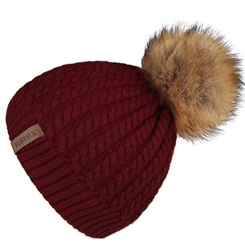 FURTALK Women Winter Knitted Pom Beanie-Fur Hat Big Pom Pom Hat Women Crochet Knit Bobble Hat