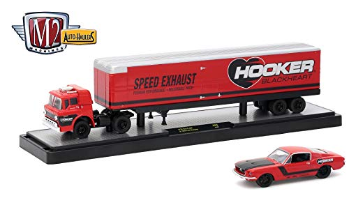 M2 Machines 1970 Ford C-600 (Hooker Blackheart) & 1968 Ford Mustang (Red w/Semi-Gloss Black Hood) 2018 Auto-Haulers Release 29 Castline 1:64 Scale Die-Cast Vehicle Set (R29 18-03) ()