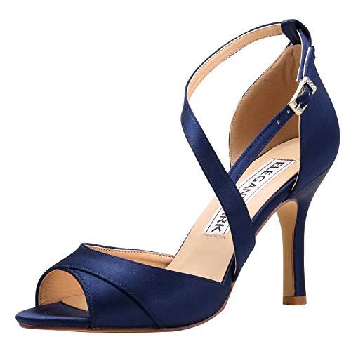 ElegantPark HP1821 Women Open Toe High Heel Sandals Evening Prom Dress Bridal Wedding Shoes Strappy Satin Navy Blue US 9