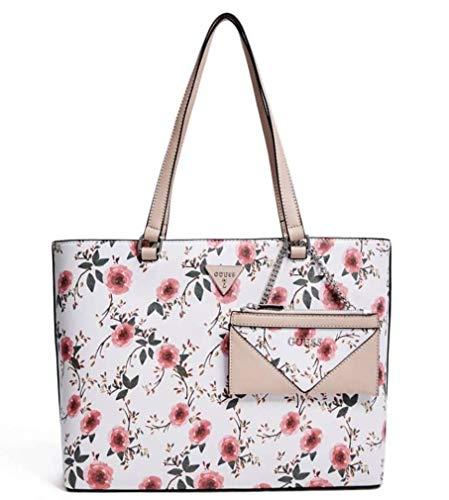 GUESS Factory Women's Circlewood Floral Large Travel Shopper Tote Bag Handbag (White Multi)