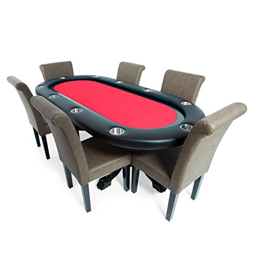 BBO Poker Elite Poker Table for 10 Players with Red Felt Playing Surface, 94 x 44-Inch Oval, Includes 6 Lounge Chairs