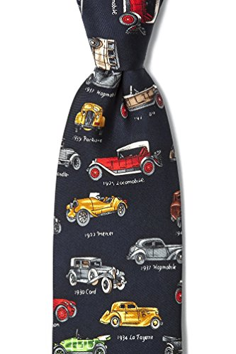 (Navy Blue Silk Tie | Antique Cars Necktie)