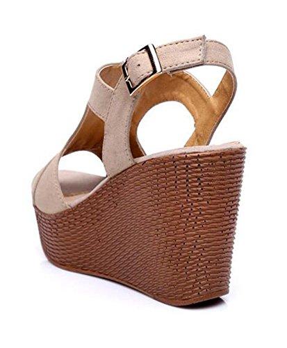 Easemax Womens Fashion Wiggen Peep Toe Rits Gesp Platform Hoge Hak Sling Terug Sandalen Abrikoos