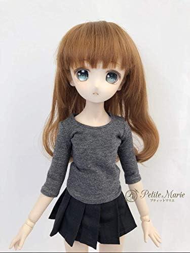 【Petite Marie】 1/3 MSD MDD対応 着回しが楽しめるラウンドカラーの5分袖Tシャツ チャコールグレー無地40cm ドール BJD 人形服【プティットマリエ】
