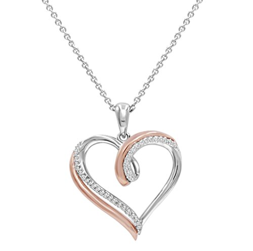 2 Tone Diamond Heart Pendant (1/10ct TW Diamond Heart Pendant - Necklace in Two Tone Sterling Silver)