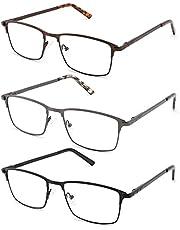 CRGATV 3-Pack Reading Glasses for Men Blue Light Blocking Metal Full Wide Frame Computer Readers