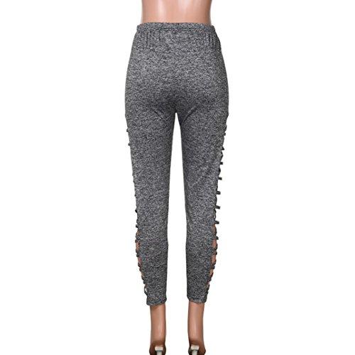 Femme De Taille Creux Noir Sexy Haute Décontracté Mode Hole Yoga Latéral Fond Leggings Pantalon Amuster Sport Bas Plus Trou aEqvwWUW6x