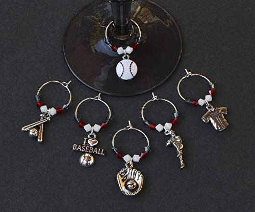 Baseball -CLEVELAND-Wine Glass Charms-Set of 6-BSBLL010-6