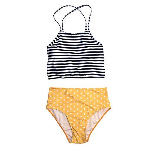 (Women Two Piece Swimsuit, Tankini Swim Hight Waist and Short Tops Bottom Bathing Suits(S-Yellow))