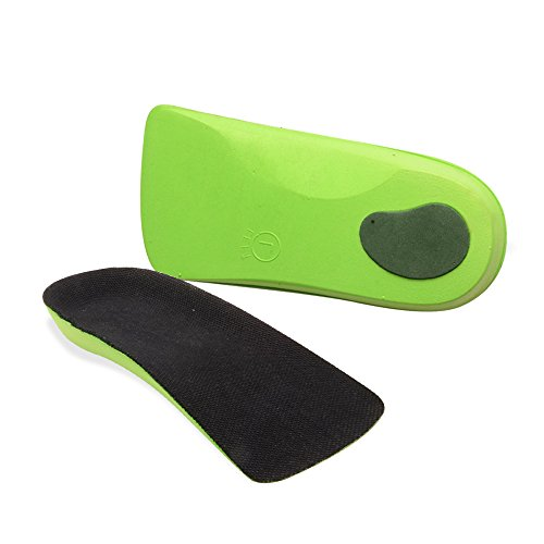 Green Insoles Half Length Insole For Plantar Fasciitis Arch Support Men's US Size 7-8.5 and Women's US Size 8.5-9 (S, Green) Arch Support Womens Insoles