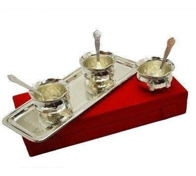 Tuzech Pure Silver Plated Snack Bowl Set Dinner Set Cutlery Home Dining Buisness Gift