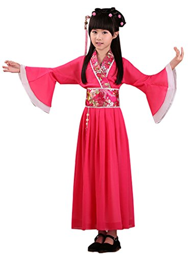 Chinese Traditional Costume For Girls (Bysun girls's costume Han Chinese clothing ancient costume girl Rose Red140)
