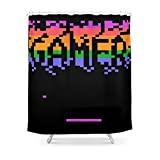 Society6 Retro Pixelated Gamer Shower Curtain 71'' by 74''