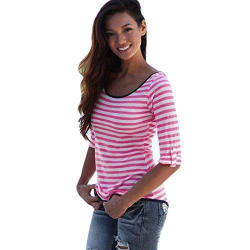 LHWY Las Mujeres Sin Espalda Manga Larga Arco Franja Blusa Tops Casual Camiseta Superior Rosa