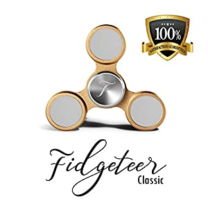 Fidgeteer Metal Fidget Spinner Toy EDC | Anxiety and Stress Relief | Ceramic Bearings | Silver and Gold