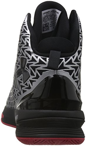 Under Armour Mens Ua Clutch 3 Scarpe Da Basket Argento Metallico / Nero / Rosso