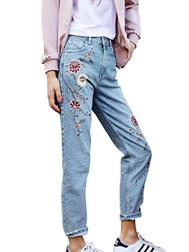 Embroidery Bootcut Womens Jeans - 6