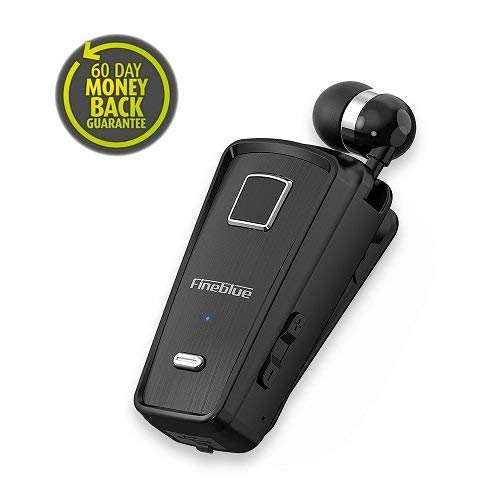 Bluetooth Earphones,FineBlue Cell Phone Headsets Clip-on Retractable Wireless Earbuds Incoming Call Alert Noise Cancellation & in-line Microphone,Compatible Most Bluetooth-Enabled Devices