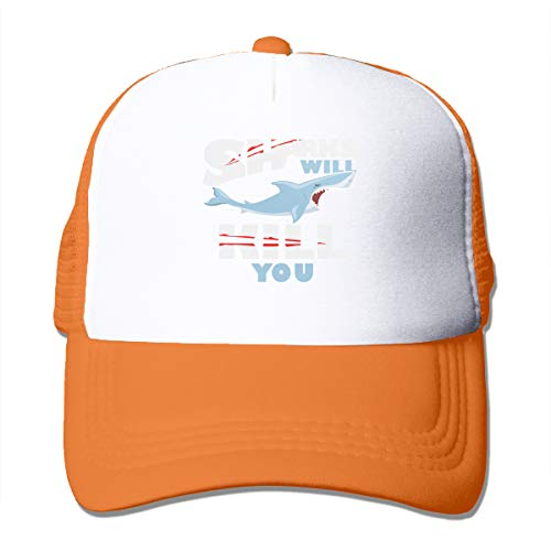 Funny Sharks Will Kill You 3D Printed Funny Art Layout Unisex Mesh Back Trucker Hat Cap -