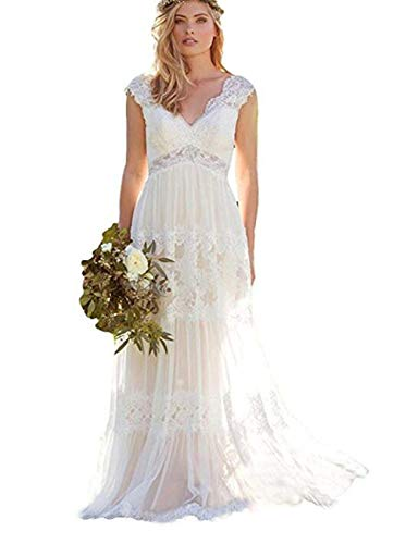 XJLY Women's Lace Country Style Wedding Dresses Double V Neck with Button Wedding Gwons Ivory