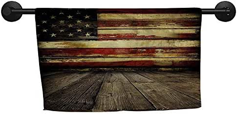 xixiBO Bath Towel Set W 28 x L 14(inch) Pattern Towel,United States,Vintage American Flag on Wooden Planks Wall Background Grunge Print,Umber Cream Red Blue
