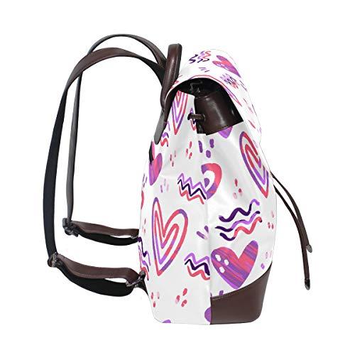 Abstrakt hjärtan alla hjärtans dag-mönster ryggsäck handväska mode PU-läder ryggsäck ledig ryggsäck för kvinnor