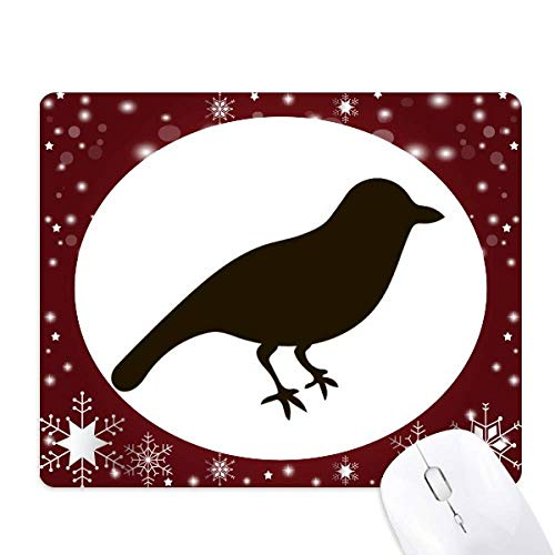 (Black Sparrow Animal Portrayal Mouse Pad Winter Snowflake Rubber)