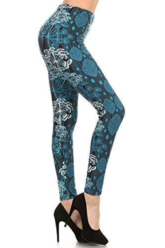 - R508-PLUS Blue Cotton Print Fashion Leggings