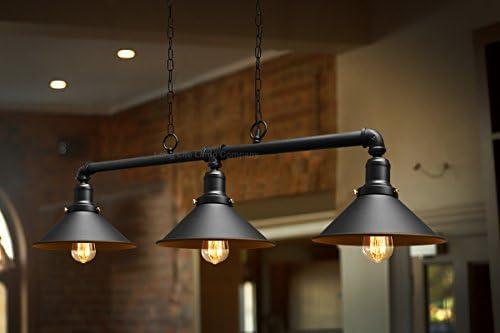 Industrial Suspended Ceiling Pendant 3 Lamp Black Metal