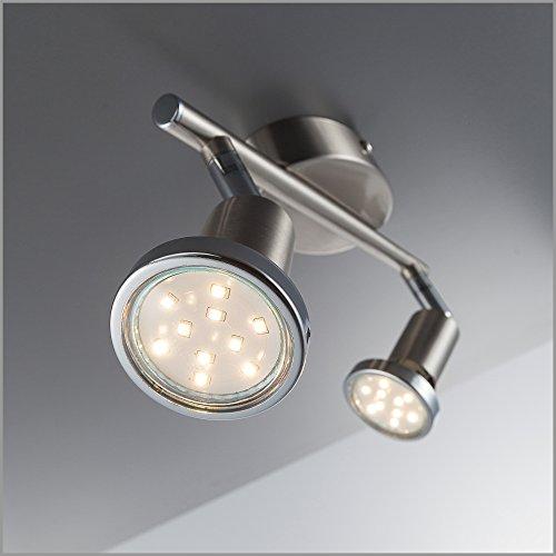 LED Decken-strahler / Decken-leuchte / Spot / GU10 / 2 x 3 Watt / 2 x 250 Lumen / schwenkbar / inkl. Chromring / matt-nickel