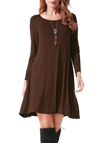 Costyleen Women's Casual Long Sleeve Loose Simple Flowy Swing T-Shirt Dress Coffee XL