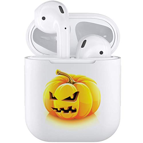 Silicone TPU Cute Accessories Holder Case Cover Skin with Keychain Compatible with Airpods Air Pods 1 2 Halloween Pumpkin -