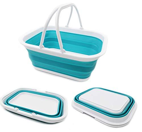 41a5Maqt6VL SAMMART 15.5L (4.1Gallon) Faltbare Wanne mit Griff - Tragbarer Picknickkorb/Krater - Faltbare Einkaufstasche…