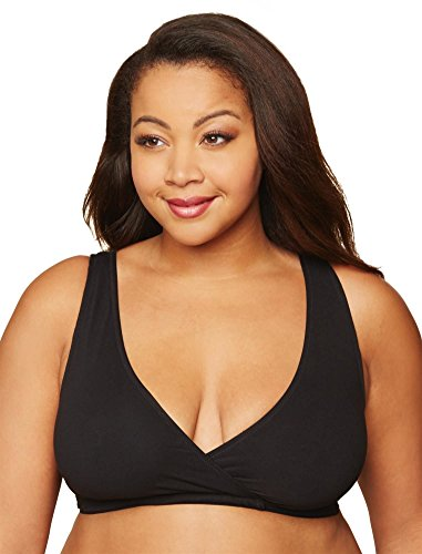 Motherhood Maternity Women's Maternity Plus-Size Wrap Front Nursing Sleep Bra, Black, 3X (Surplice Bra)