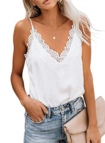 (Arainlo Women's Summer Sleeveless Shirts V Neck Backless Lace Strappy Trim Camisole Tank Tops Loose Blouse Plus Size White XXL)