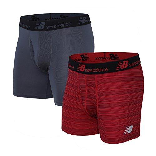 New Balance Men's Dry Fresh Boxer Brief (Pack of 2), Team Red Stripe/Thunder, Small (29-31