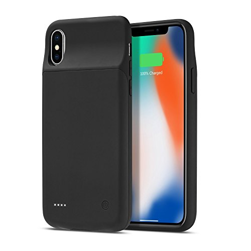iPhone X Battery Case, Support Lightning Wired Headphones, DaBee 3200mAh Portable Protective Power Bank Charger Case, Rechargeable Extended Battery Pack Charging Case for iPhone X/10(5.8 inch), Black