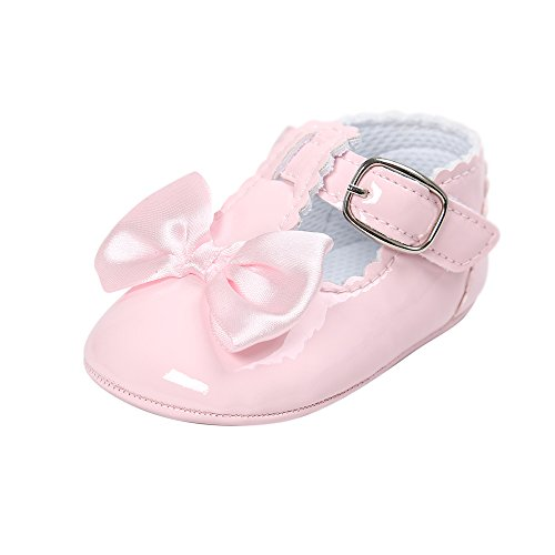 Estamico Infant Baby Girls Bowknot Mary Jane Toddler Sneakers Prewalker Wedding Dress Shoes Pink, 6-12 Months -